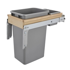 Rev-A-Shelf 4WCTM1550BBSCDM1 50 Quart Single Soft-Close Top Mount 1.5-Inch Face Frame Wood Waste Containers