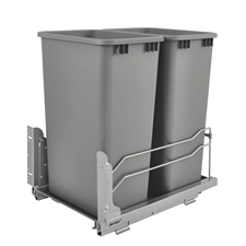 Rev A Shelf 53WC-2150SCDM-217 Double 50 Quart Pullout Waste Container Soft-Close - Silver