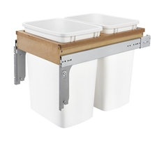 Rev-A-Shelf 4WCTM-18DM2-162 Double (2 x 35qt) Top Mount Waste Containers - 1.625-Inch Face Frame - Maple
