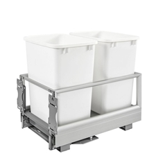 Rev A Shelf 5149-18DM-211 Double (35 qt) Bottom Mount Rev-A-Motion Aluminum Waste Container - White