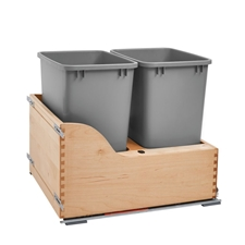 Rev-A-Shelf 4WCSC-2135DM-2 Double Waste Containers with Soft-Close and Tandem Heavy Duty Slides - 2 x 35qt