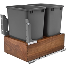 Rev-A-Shelf 4WC-WN-2150DM2-SC Double Bottom Mount Waste Containers - 2x50 qt - Walnut