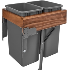 Rev-A-Shelf 4WCTM-WNRM-2150DM-2 Double Top Mount Rev-A-Motion™ Wood Waste Containers - 2x50 qt - Walnut