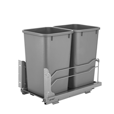 Rev-A-Shelf 53WC-1527SCDM-217 Double Undermount Soft-Close Waste Container - 2 x 27 qt - Silver