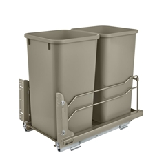 Rev-A-Shelf 53WC-1527SCDM-212 Double Undermount Soft-Close Waste Container - 2 x 27 qt - Champagne