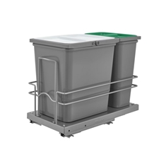 Rev-A-Shelf 5SBWC-815S-1 Double Pullout Waste Containers 1x15L Waste 1x8L Recycling - Silver