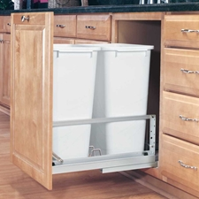 Rev-A-Shelf 5349-2150DM-2 Double 50-QT Bottom Mount Soft-Close Pull Out Waste Container - White