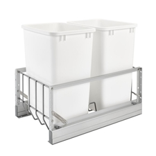 Rev-A-Shelf 5349-18DM-2 Double 35-QT Bottom Mount Soft-Close Pull Out Waste Container - White