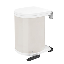 Rev-A-Shelf 8-010212-14 Round 14-Liter Pivot Out Waste Bin (White Lacquered)