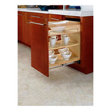 Rev A Shelf 448-BC-14C Base Cabinet Pullout Organizer with Wood Adjustable Shelves
