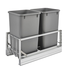 Rev-A-Shelf 5349-1527DM-217 Double 27-QT Bottom Mount Soft-Close Pull Out Waste Container - Metallic Silver