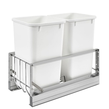 Rev-A-Shelf 5349-1527DM-2 Double 27-QT Bottom Mount Soft-Close Pull Out Waste Container - White