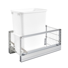 Rev-A-Shelf 5349-15DM-117 35-Qt Single Pull-Out Waste Container - Metallic Silver Polymer