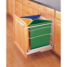 Rev-A-Shelf 5349-9WM-C Three 25-Qt. Bottom Mount Tri-Color Recycle Center