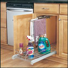 Rev A Shelf 5330-15-GS Base Cabinet Pullout Single Glass Basket (for 18