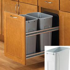 KNAPE & VOGT USC15-2-35WH Double 35-QT Soft-Close Undermount Waste & Recycling Bins - White