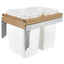 Rev-A-Shelf 4WCTM-18DM2-419-FL Double 35 Quart Frameless Side-Mount Pull Out Waste Container