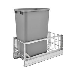 Rev-A-Shelf 5349-1550DM-117 50-Qt Single Pull-Out Waste Container - Metallic Silver Polymer