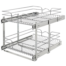 Rev A Shelf 5WB2-1522-CR Base Cabinet Pullout 2 Tier Wire Basket