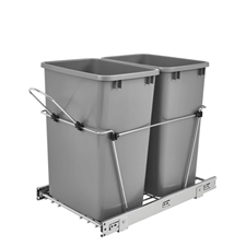 Rev-A-Shelf RS.RV.18KD.17CS Double 35-QT Double Bottom Mount Chrome Wire Waste Containers