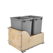 Rev-A-Shelf 4WCSD-1835DM-2 Double 35 Quart Wood Bottom Mount Waste Container Kit with Blum Tandem Slides and Servo-Drive