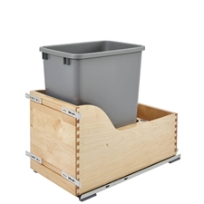 Rev-A-Shelf 4WCSD-1535DM-1 4WCSD Series Single 35 Quart Wood Bottom Mount Waste Container Kit with Blum Tandem Slides and Servo-Drive