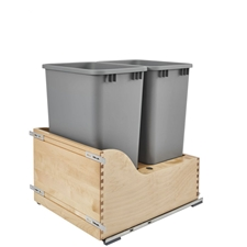 Rev-A-Shelf 4WCSD-2150DM-2 Double 50-QT Wood Bottom Mount Waste Container Kit with Blum Tandem Slides and Servo-Drive