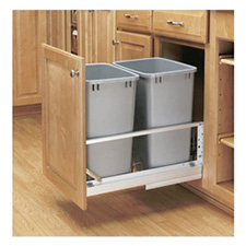 Rev-A-Shelf 5349-18DM-217 Double 35-QT Bottom Mount Soft-Close Pull Out Waste Container - Metallic Silver