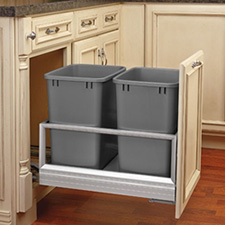 Rev-A-Shelf 5149-18DM-217 Rev-A-Motion Double 35-quart Bottom Mount Pull-Out Waste Container