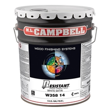 M.L. Campbell W358 14 5 Resistant Post-Catalyzed Pigmented Varnish - White Satin - 5 Gallons