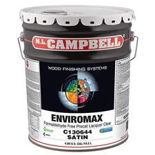 M.L. Campbell C130644.5 EnviroMax Formaldehyde Free Pre-Cat Lacquer Clear - Satin Finish - 5 Gallons