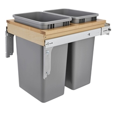 Rev A Shelf 4WCTM2150BBSCDM2 Double 50 Quart Top Mount Wood Pull-out Waste Container Soft-Close