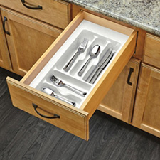 Rev-A-Shelf GCT-1W-52 Cut to Size Cutlery Tray - Small - Glossy White