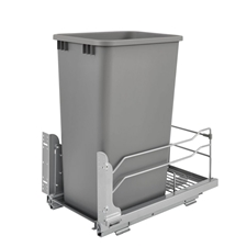 Rev A Shelf 53WC-1550SCDM-117 50 Quart Pullout Waste Container Soft-Close - Silver