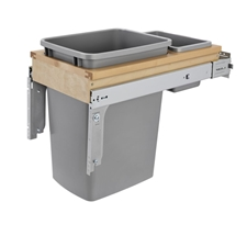 Rev-A-Shelf 4WCTM-12BBSCDM1 Single 35 QT Soft-Close Top Mount 1.5-Inch Face Frame Wood Waste Container