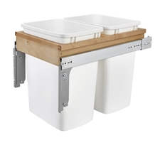 Rev-A-Shelf 4WCTM-18DM2-175 Double Top Mount Waste Containers - 1.75-Inch Face Frame - Maple