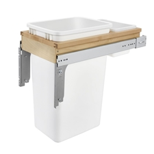 Rev-A-Shelf 4WCTM-1550DM-1 Single Top Mount 1.5-Inch Face Frame Wood Waste Container - 50 QT - Maple & Zinc