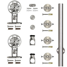 Knape & Vogt SS-TMSW-65 Round Rail Top Mount Spoke Wheel Complete Kit - 78 3/4
