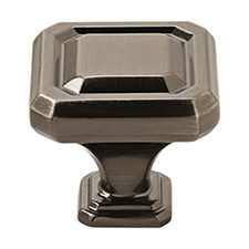 "Amerock BP36546GM Wells Collection Square Knob – 1 1/4"" - 32mm – Gunmetal"