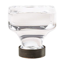 "Amerock BP36653CORB Glacio Collection Square Knob – 1 3/8"" - 35mm – Clear Crystal and Oil Rubbed Bronze"