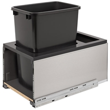 Rev-A-Shelf 5LB-1535SSBL-118 Single LEGRABOX Waste Containers - 35 qt - Black and Gray