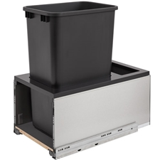 Rev-A-Shelf 5LB-1550SSBL-118 Single LEGRABOX Waste Containers - 50 qt - Black and Gray