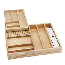 Rev-A-Shelf 4WTCD-724FL-1 Complete System Two-Tier Cutlery Organizer to Replace Existing Frameless Drawers - for 30
