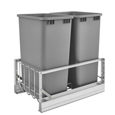 Rev-A-Shelf 5349-2150DM-217 Double 50-QT Bottom Mount Soft-Close Pull Out Waste Container - Metallic Silver