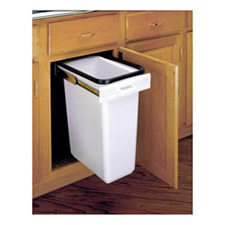 Rev-A-Shelf E-Z 300-52 Single 30-Quart Top Mount Covered Waste Container - white Polymer