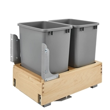 Rev-A-Shelf 4WCBM-18DM-2 Double 35 Quart Bottom Mount Soft Close Wood Pull Out Waste Container