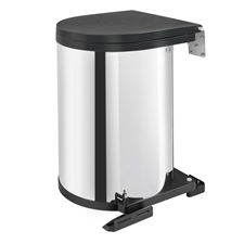 Rev-A-Shelf 8-010314-15 Round 15-Litre Pivot Out Waste Bin (Stainless Steel)