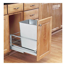 Rev-A-Shelf 5349-15DM-1SS 32-Qt Single Pull-Out Waste Container - Stainless Steel