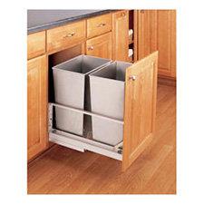 Rev-A-Shelf 5349-18DM-2SS Double 32-QT Bottom Mount Soft-Close Pull Out Waste Container - Stainless Steel