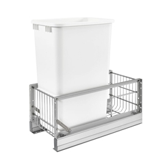 Rev-A-Shelf 5349-1550DM-1 Single 50 Quart Pullout Waste Bin - White Polymer
